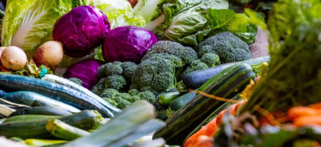 Variety of green and purple vegetables